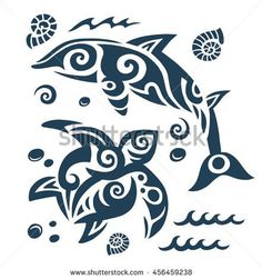 Tattoo in the Polynesian style with the Dolphin and turtle