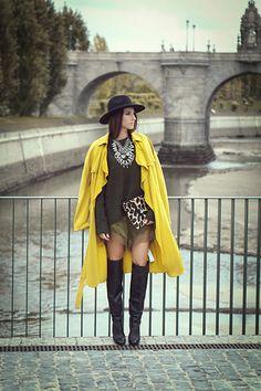H&M Hat, Zara Necklace, Zara Trench, Suitblanco Clutch, H&M Shorts, Zara Boots