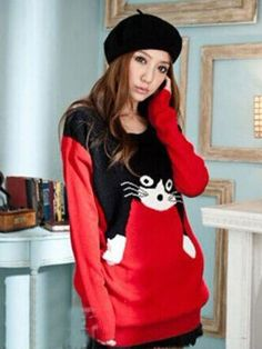 c9a6ee438a3f48 Adorable Color Block Black Cat Pattern Scoop Neck Long Sleeves Sweater For  Women