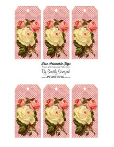 Free Printable Tags: Vintage Roses and Distressed Polka Dots