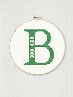 Cross stitch letter B pattern with chevron by LittleHouseBliss, $3.00