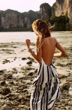 striped maxi beach dress omg need! Backless Maxi Dresses, Striped Maxi Dresses, Sun Dresses, Peplum Dresses, Woman Dresses, Daytime Dresses, Casual Dresses, Casual Outfits, Backless Top