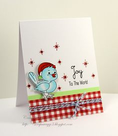 Handmade by G3: Couple of Christmas cards! What a darling wee bird :)