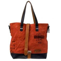 Red Canvas Leather Tote // Upcycled and Handmade by peace4youBAGS