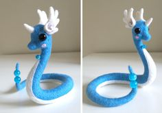 Needle felt Dragonair, by u/Jirachi_Wishmaker Needle Felted Animals, Felt Animals, Cute Crafts, Felt Crafts, Felt Dragon, Pokemon Craft, Crochet Pokemon, Needle Felting Tutorials, Wet Felting