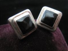 Square Onyx Earrings Sterling Black Square Shaped by CrissieGirl