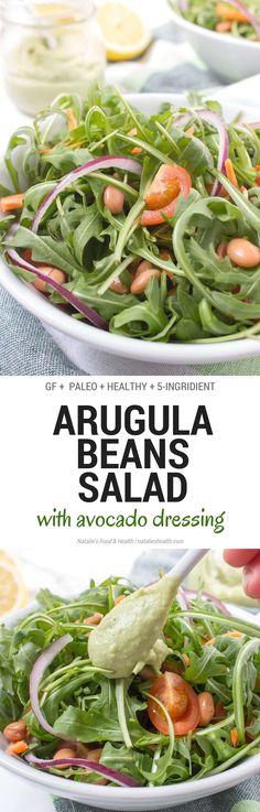 Arugula Beans Salad topped with creamy avocado dressing is a simple yet delicious HEALTHY meal. This very nutritious spring salad is easy to make and can be eaten anytime. CLICK to grab the recipe or PIN for later! natlieshealth.com #glutenfree #vegetarian #healthy #salad