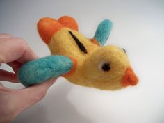 Needle Felted Bird Colorful Wool Bird by FeltWithAHeart on Etsy