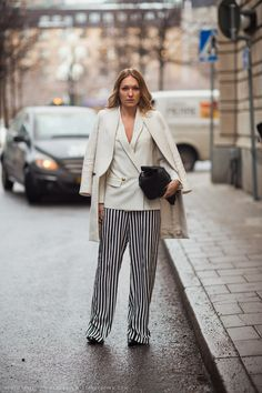 Elin taking a  little cue from TTH and wearing striped pants. Me likey. Carolines Mode | StockholmStreetStyle