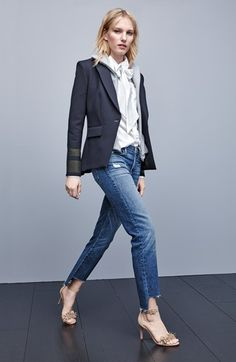 Veronica Beard Jacket with Removable Dickey & FRAME Jeans