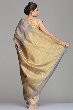 Striped Grey & Beige Kanjivaram Silk Saree With Half-Fine Gold Zari Paisleys, Thin Striped Border And Pallu With Motifs