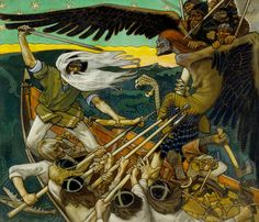 The Defense of the Sampo (Sammon puolustus) is an 1896 Romantic nationalist painting by Finnish painter Akseli Gallen-Kallela. The battle for the Sampo is also given a deeper connotation as a battle for the soul of Finland. Art And Illustration, Canvas Art Prints, Fine Art Prints, Chur, Wildlife Art, Helsinki, Les Oeuvres, Art Museum, Art History