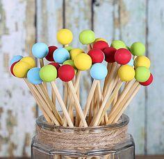 Circus Party Painted Rock Candy Kabob Sticks (12)