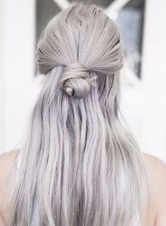 Half Bun Sleek Straight Hairstyles 2018