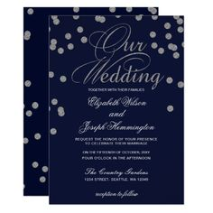 FAUX Glitter confetti navy and silver wedding Invitation Navy And Silver Wedding Invitations, Blue Silver Weddings, Wedding Invitation Design, Invitation Ideas, Invites, Glitter Confetti, Wedding Confetti, Sparkle Wedding, Wedding Cards