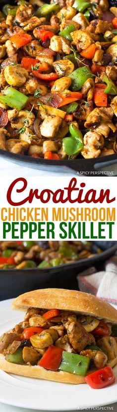Comforting Croatian Chicken Mushroom Pepper Skillet Recipe via @spicyperspectiv