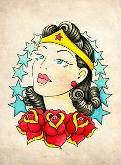Wonder Woman Neo-Traditional, Old School Tattoo Flash Print. $5.00, via Etsy.