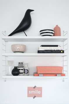 String Pocket shelf over desk with Eames Bird and some other small stuff Eames, Decor Interior Design, Interior Decorating, Open Shelving, Shelves, String Shelf, Wall Storage, Cafe Design, Decorating Blogs