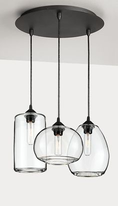 Crafted exclusively for us by Hennepin Made with U.S. and imported materials, each Sky pendant is hand-blown by glass artists in their Minneapolis studio. This pendant set is mounted to a round, steel ceiling canopy plate for convenient installation.