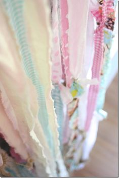 strips of torn fabric gypsy curtains