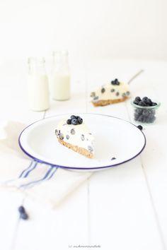 Blaubeer-Käsekuchen mit weißer Schokolade