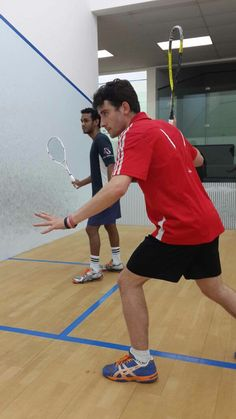 Lawrence Kuhn and Gary Naidoo, both parkview #Squash Centre coaches, training for the Jasters U23 finals at CCJ Auckland Park 26 - 28 September 2014. Lawrence won the Durban leg of the U23 series on Sunday and is in top form going into the final | 23 September 2014