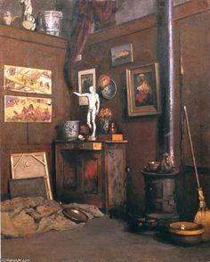 'intérieur d'un studio', huile sur toile de Gustave Caillebotte (1848-1894, France)