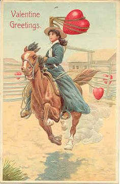 """ A Cowgirl Valentine "" Vintage 1914 Post Card. An embossed surface, DB-USD-PM 1914 and in Excellent condition. Karodens Vintage Post Cards at www.bonanza.com/booths/karoden"