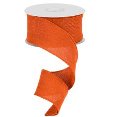 Faux Burlap Ribbon 2.5 x 25 yards Color: Orange Material: 100% Polyester Wire Edge