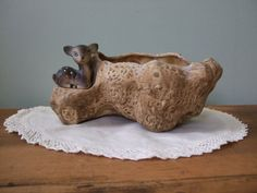 Vintage Fawn Planter Ceramic Log by jessamyjay on Etsy, $15.00