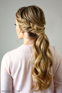 fishtail braid low ponytail tutorial                                                                                                                                                                                 More