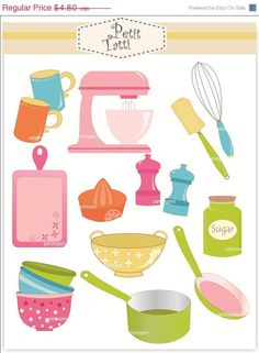 ON SALE cooking clip art baking clipart  Digital by petittatti