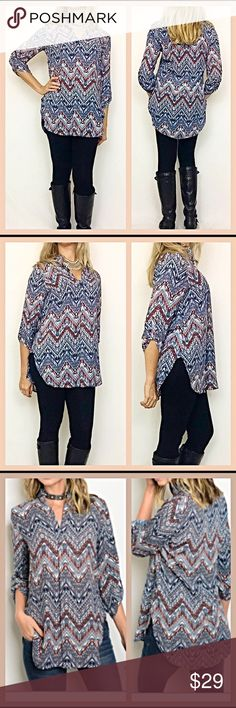 """Chevron print butter soft tunic top M L Gorgeous, super comfortable & flattering chevron print tunic in navy, blush & ivory. 3/4 tab sleeves & mandarin collar. Non-sheer butter soft polyester & side slits. Wear for dress or play❤️❤️❤️  Medium  Bust 34-36 Length 29.5""""  Large Bust 36-38 Length 30"""" Tops Tunics"""