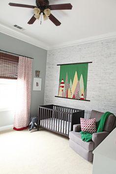 Weston's Nursery Reveal. Bower Power.  Walls:  Metropolitan Gray, Benjamin Moore.  Lovely and fun~