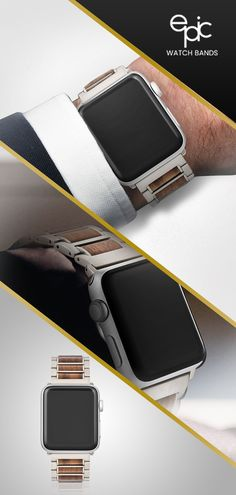 Ready to take your Apple Watch to the next level? This Epic Fusion band beautifully blends stainless steel and natural wood. Finally, here is the eye-catching and unique watch band that lives up to the refined sophistication of the Apple Watch! Mvmt Watches, Cool Watches, Watches For Men, Apple Watch Accessories, Web Design, Grown Man, Apple Watch Bands, Cool Things To Buy, Stuff To Buy