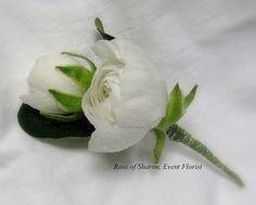 Ranunculus boutonniere #wedding #flowers ::  white rose
