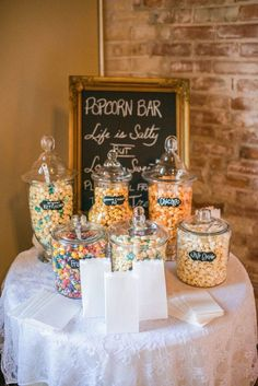 A Flavored Popcorn Bar Is Sweet And Simple Idea For Wedding Reception
