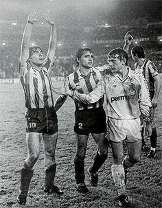 Futre, Tomás y Butragueño en una victoria del Atlético de Madrid sobre el Real…