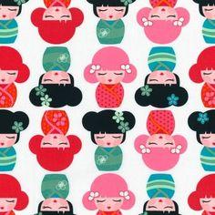 Hello Tokio Asian Dolls by Lisa Tilse - Robert Kaufmann Fabrics - 110x50 cm - Dottie's fabric shop
