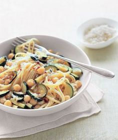 Linguine With Zucchini and Chickpeas recipe from realsimple.com #myplate #protein #vegetables