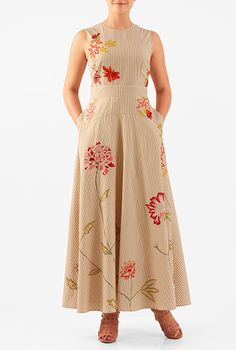I <3 this Floral embellished stripe cotton maxi dress from eShakti