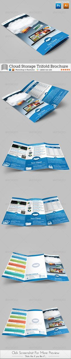 Cloud Storage Trifold Brochure  #GraphicRiver         Hi Everyone! Now we have a brand new brochure from our directory, Cloud Storage Trifold Brochure. You can use this brochure for promote your storage service with offline method. You can give this to other people to promote your service.