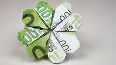 Geldgeschenk Idee zum Geburtstag: Kleeblatt aus Euro Geldscheinen falten. Origami Anleitung zum Basteln eines kreativen Geldgeschenks zum Geburtstag, zu Weih...