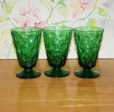 Vintage, Set of 3, Bryce, El Rancho Greenbrier (Forest Green) Water Goblets, Footed Glasses