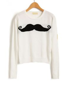 Featuring soft fine gauge knitted fabric in white with a contrast moustache print to chest, round neckline, long length sleeves with wide ribbed cuffs, and wide ribbed hem, in a cropped length cut.        Shoulder:37cm        Bust:47cm        Sleeve:57cm        Length:44cm