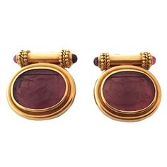 Elizabeth Locke Pink Venetian Glass Intaglio Gold Earrings | From a unique collection of vintage clip-on earrings at https://www.1stdibs.com/jewelry/earrings/clip-on-earrings/