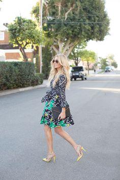 Blogger Lyndi in the City wearing the DVF Amelianna Flared Silk Combo Wrap Dress