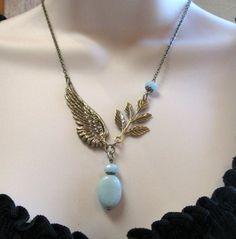 Angel wing necklace, amazonite blue beads - nature-11 Main