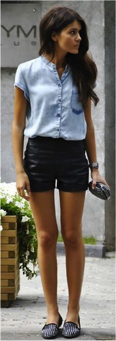 Leather shorts, button down top