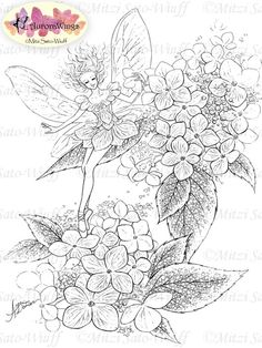 Digital Stamp Instant Download Hydrangea Fairy w/ by AuroraWings